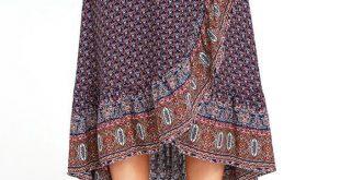 roaming nomad navy blue print high-low wrap skirt OYXGKUK