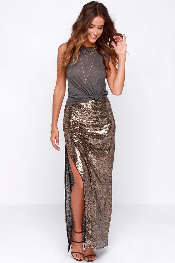 sexy gold skirt - gold sequin skirt - gold maxi skirt - $49.00 BNKLLJM