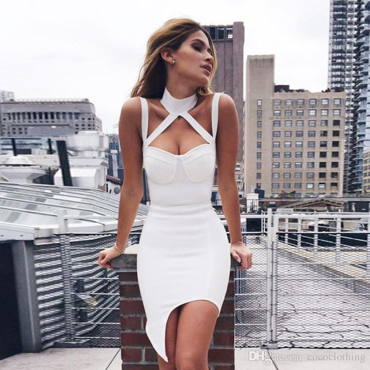 Sexy White Dresses 2016 spring summer cool new europe ladies halter bandage dress sexy white  dress CDXEBNR