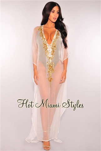 Sexy White Dresses quick view this product off white sheer gold sequins cover up maxi dress LRNESNJ