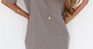 shirt dresses grey round neck half sleeve loose dress ORJWHBZ