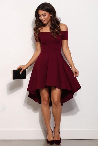 Short Prom Dress off the shoulder prom dress,burgund EWKQGUS