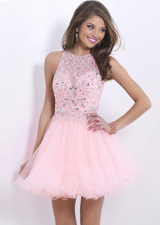 Short Prom Dress pink sheer neck keyhole back beaded short prom dress WYGHJNE