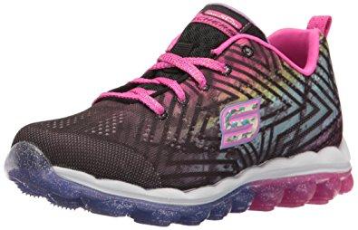 skechers kids girlsu0027 skech-air-jumparound running shoe, black/multi knit CRWQVYR