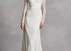 sleeved wedding dresses long sheath modern chic wedding dress - white by vera wang BYJXSUU