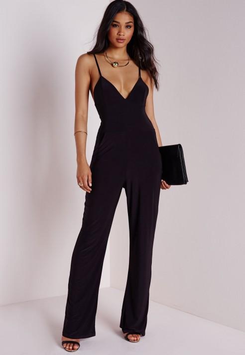 slinky wide leg jumpsuit black - jumpsuits - black jumpsuits - missguided RMRXIZV