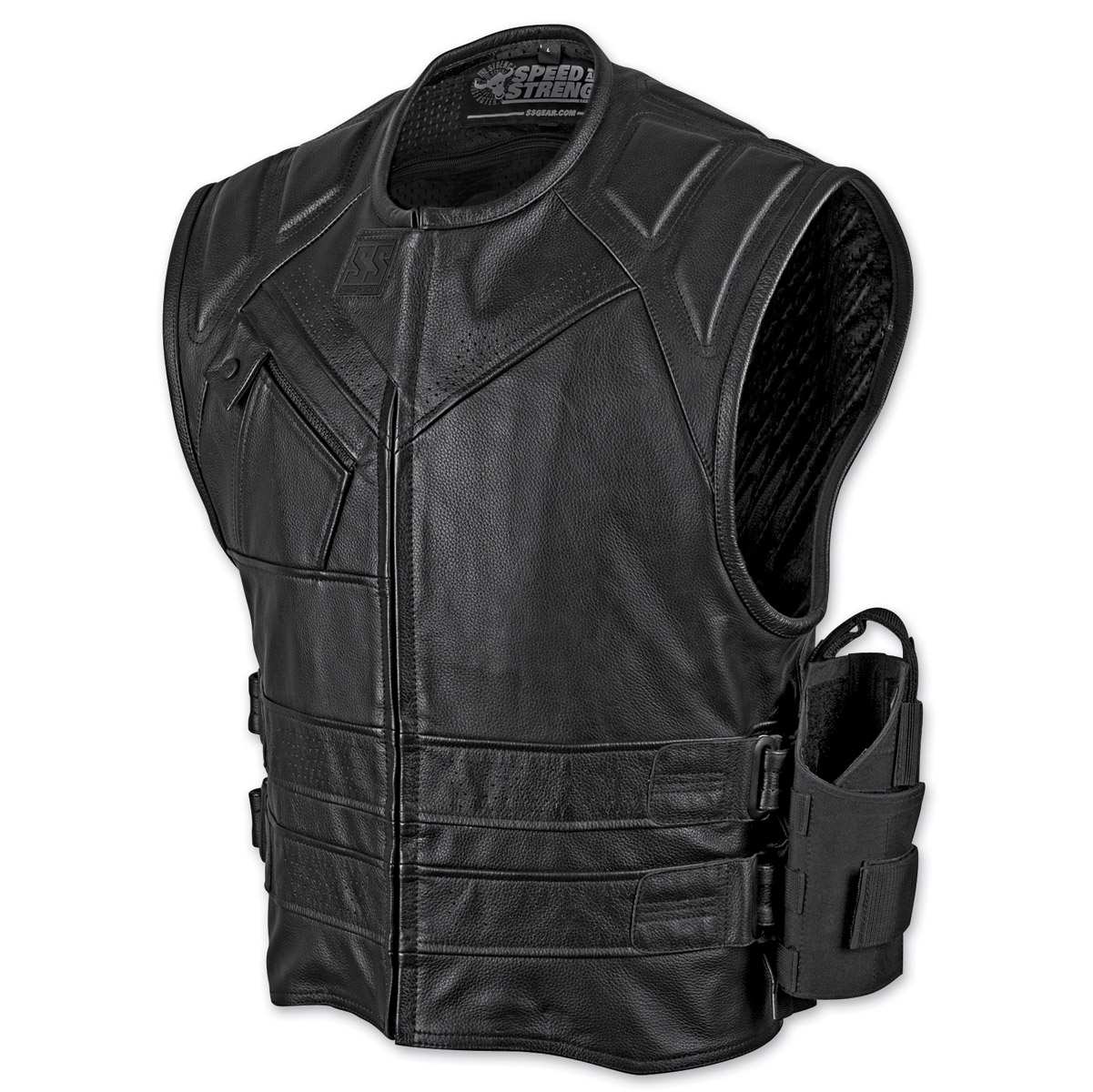 speed and strength menu0027s the quick and the dead black leather vest ... POFCQJR