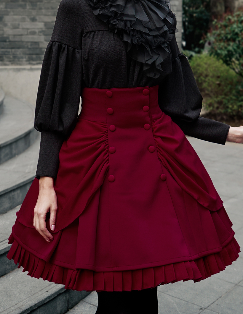 steampunk high waisted skirt steampunk vintage bustle skirt*black,burgundy KNLRSTK