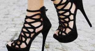 stilettos heels $61.69 dresswe.com supplies sexy black butterfly cut-outs ankle strap high  heel shoes KCDETPJ