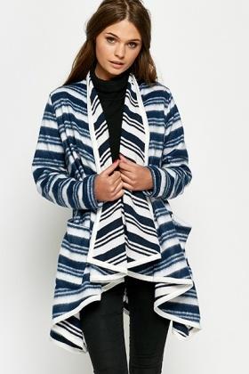 striped oversized waterfall blanket cardigan QJZRNTF