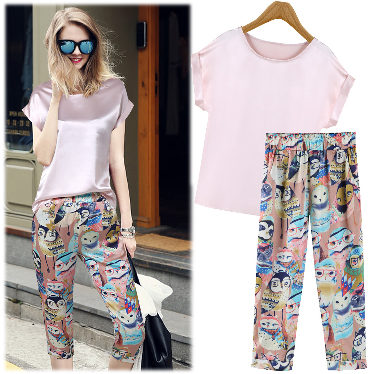 summer pants a generation 2015 summer new korean comfort pink chiffon blouse + stamp  haren CIOJOJZ