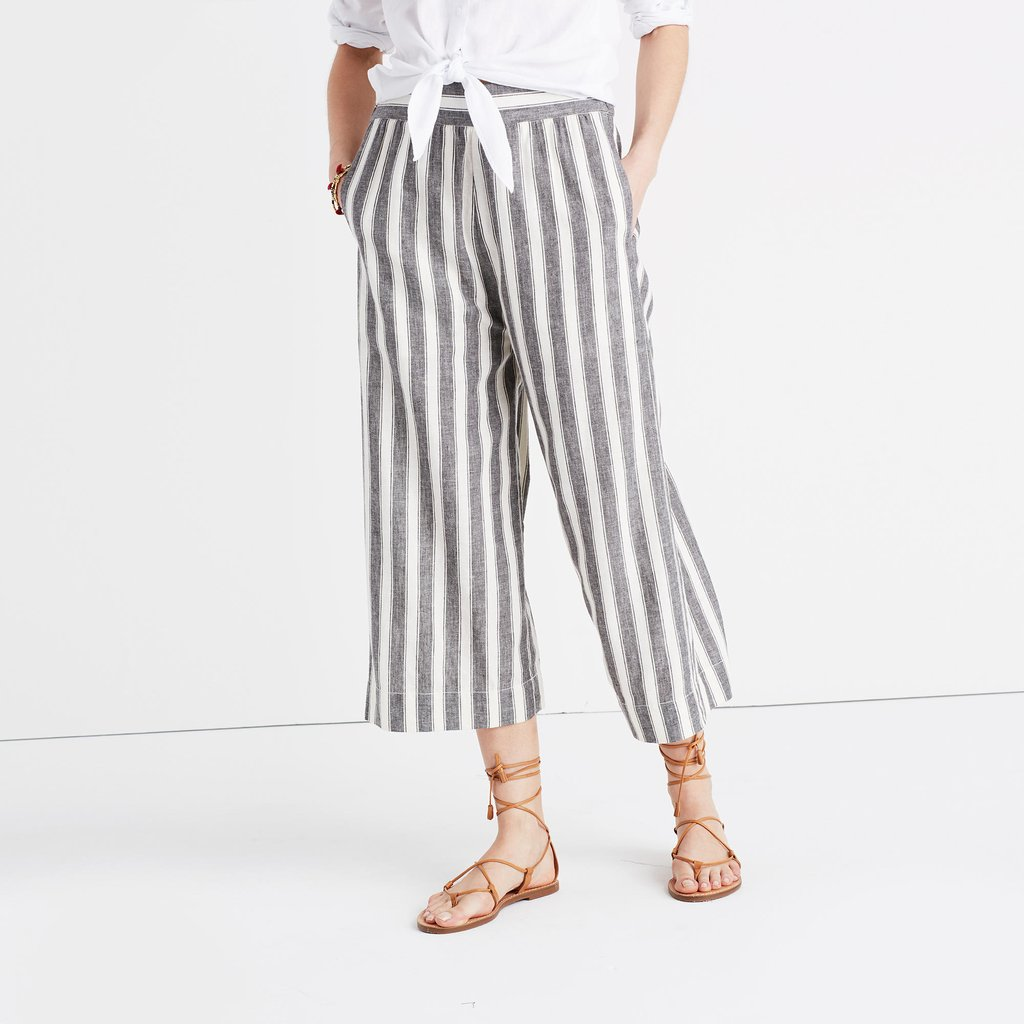 summer pants itu0027s all about the stripes on madewellu0027s huston pull-on crop pants ... ABSLZYV