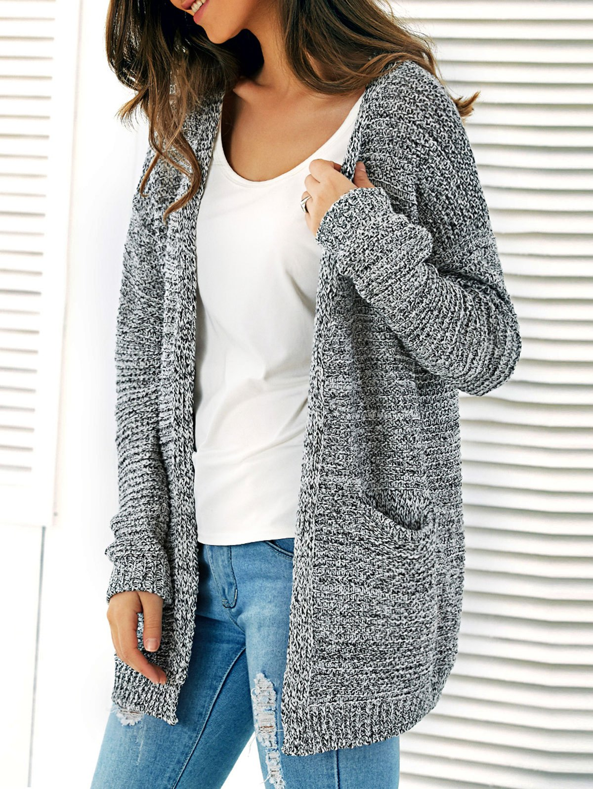 sweater cardigan ... knitted open front cardigan with pockets - gray one size ... RGZPCJQ