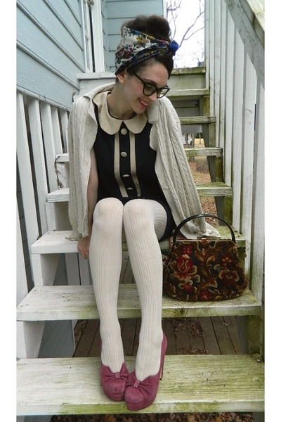 sweater tights ivory sweater - navy monteau dress - ivory sweater merona tights YMHLSFK