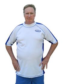 swim shirts white with blue trim extended size swim shirt KZUDUMN