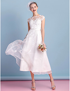 tea length wedding dresses a-line bateau tea length organza wedding dress with appliques lace sash /  ribbon HUCKKVB