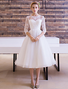 tea length wedding dresses a-line jewel tea length satin tulle wedding dress with sash / ribbon UVCVHLO