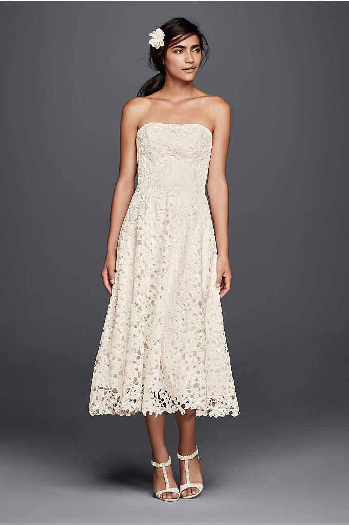 tea length wedding dresses floral cutout lace tea length wedding dress KIYPPDR