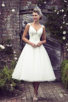 tea length wedding dresses tea length sleeveless beaded layered tulle open back wedding dress OVOQNTF
