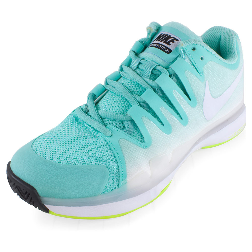 tennis shoes for women nike nike womenu0027s zoom vapor 9.5 tour tennis shoes bleached turq and volt SJZSZJG