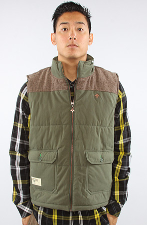 the rockwood puffy vest in olive drab QVSZCCE