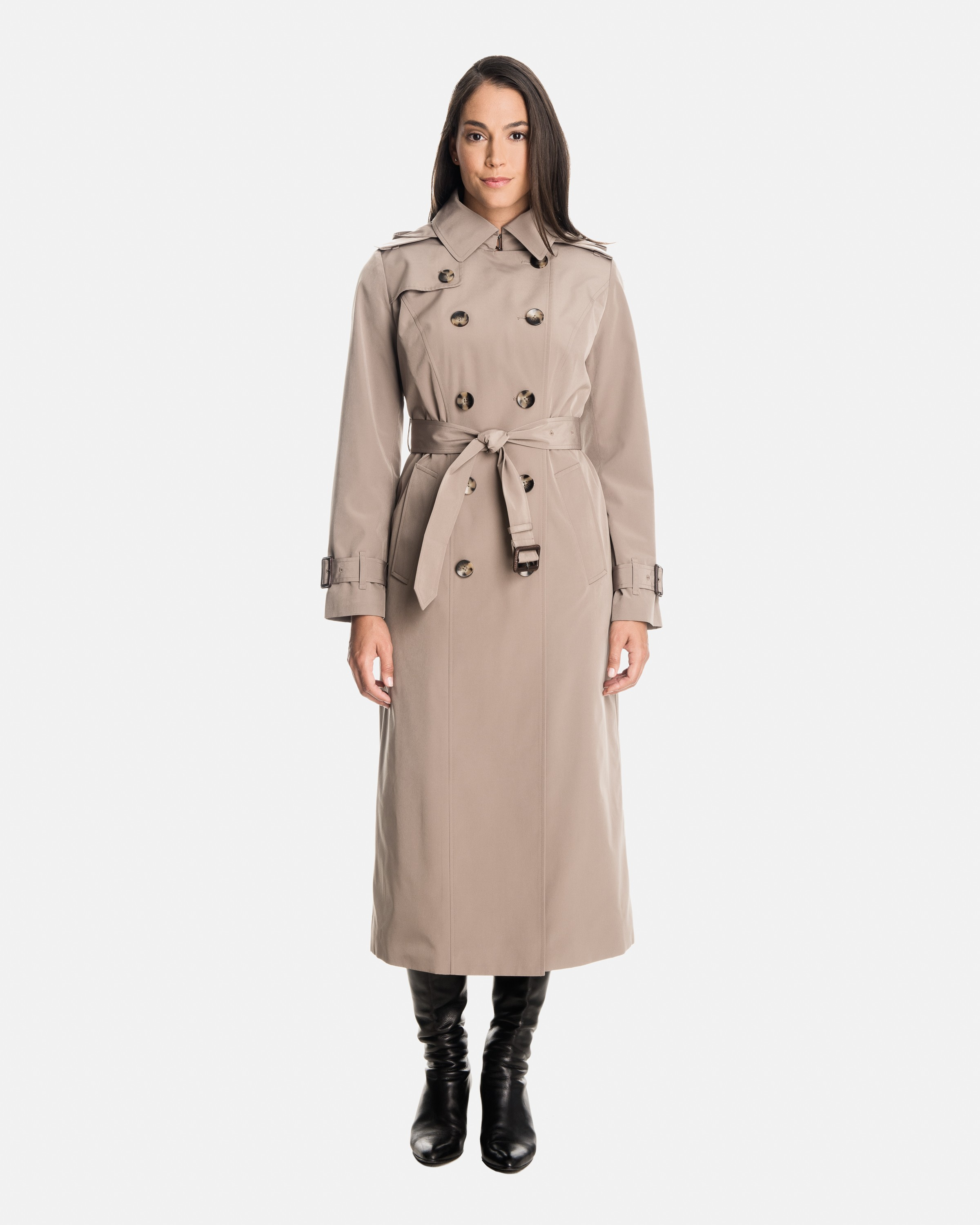 trench coats for women rachel double breasted long trench coat with detachable hood PXLXPFM
