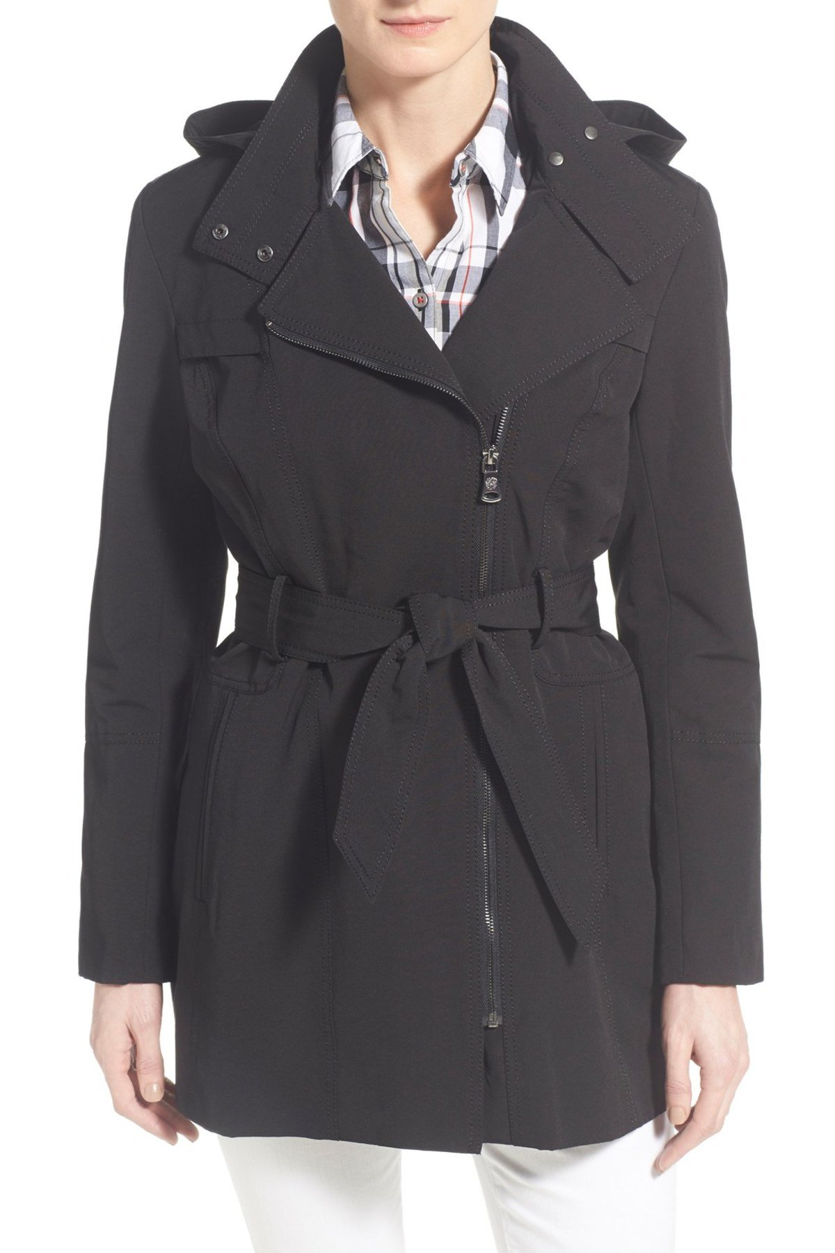 trench coats for women vince camuto - belted asymmetrical zip trench coat YKNQAJF