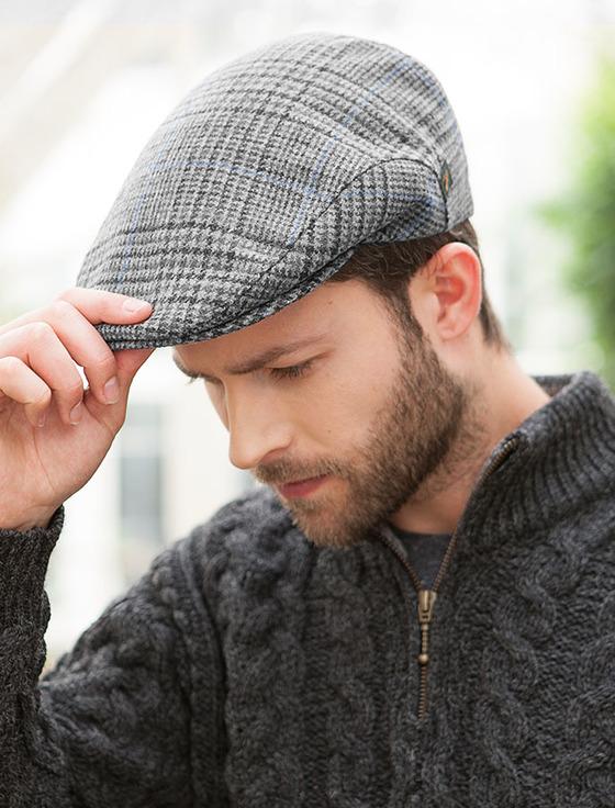 trinity tartan flat cap - grey check BLZJBFY