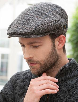 trinity tweed flat cap - grey with tan ANITEFS