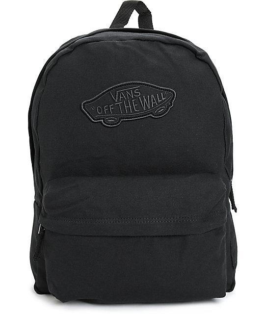 vans bags vans realm black canvas backpack CJVLGHL