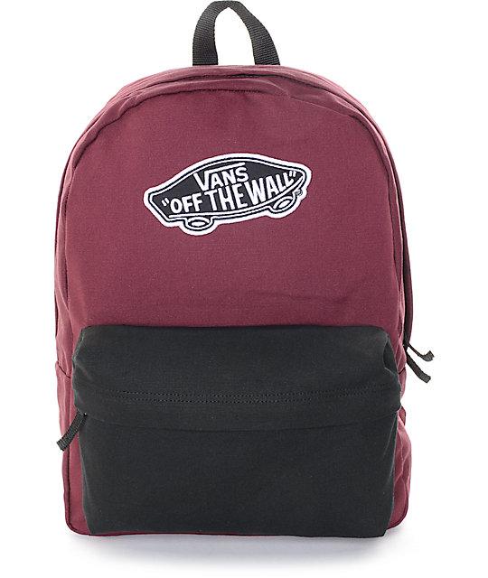 vans bags vans realm burgundy u0026 black colorblock backpack BGRRMCS