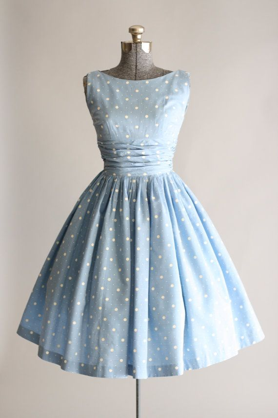 vintage dress vintage 1950s dress / 50s cotton dress / blue and white polka dot dress QIHCJIR