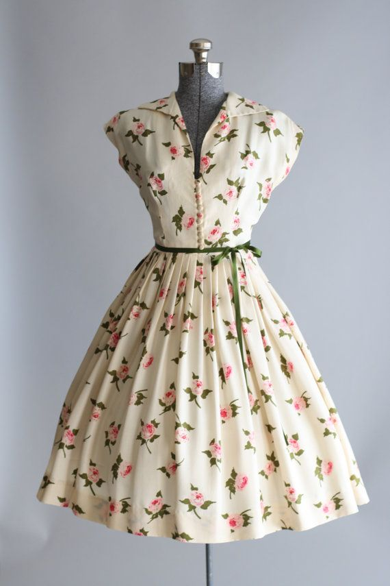 vintage dress vintage 1950s dress / 50s silk dress / cream rose print dress w/ waist QKZUSAO