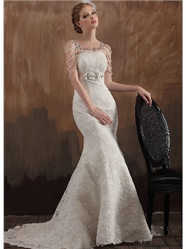 vintage style wedding dresses 60 noble mermaid strapless empire court train lace wedding dress ADKXESH