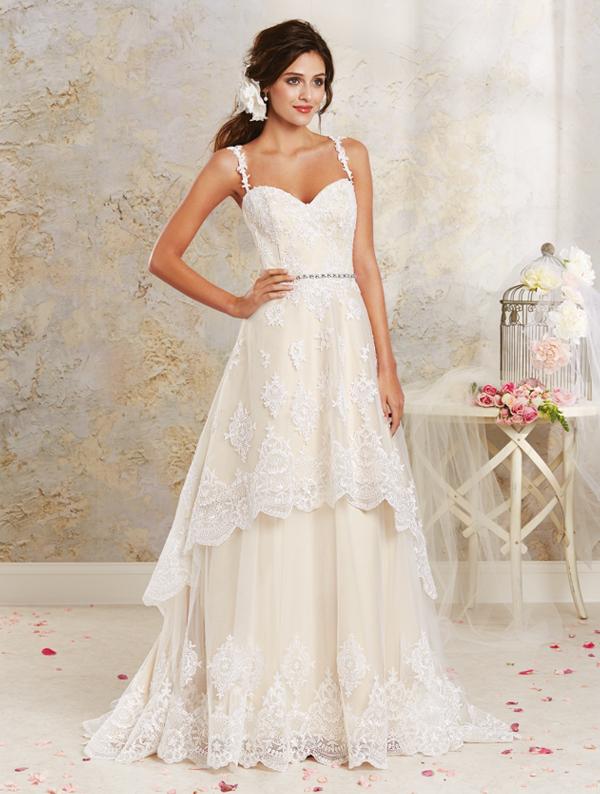 vintage style wedding dresses hi-low modern vintage bridal gown HKAZCOO