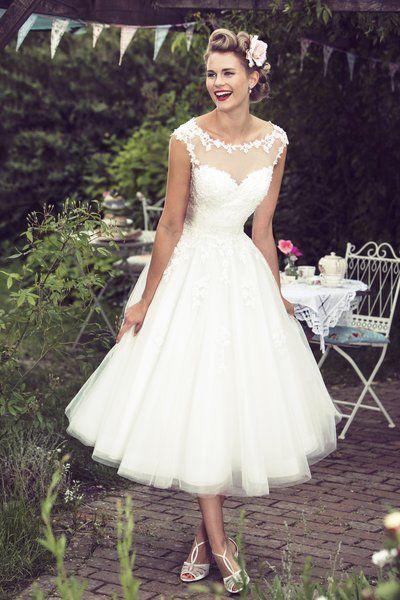 vintage style wedding dresses tea length bridal and 50u0027s style short wedding dresses | brighton belle | CMYPURZ