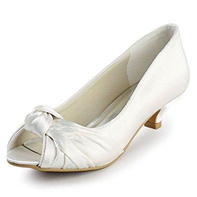 wedding shoes low heel elegantpark ep2045 womenu0027s peep toe low heel knot bridal wedding shoes HHFJYWO
