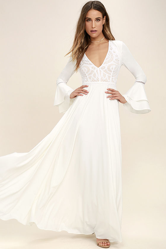 white maxi dress lovely white dress - lace dress - maxi dress - $96.00 CKQDNIO