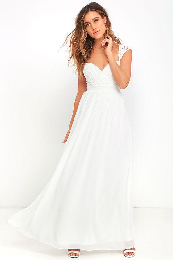 white maxi dress white dress - maxi dress - lace gown - $78.00 ZAZLXQE