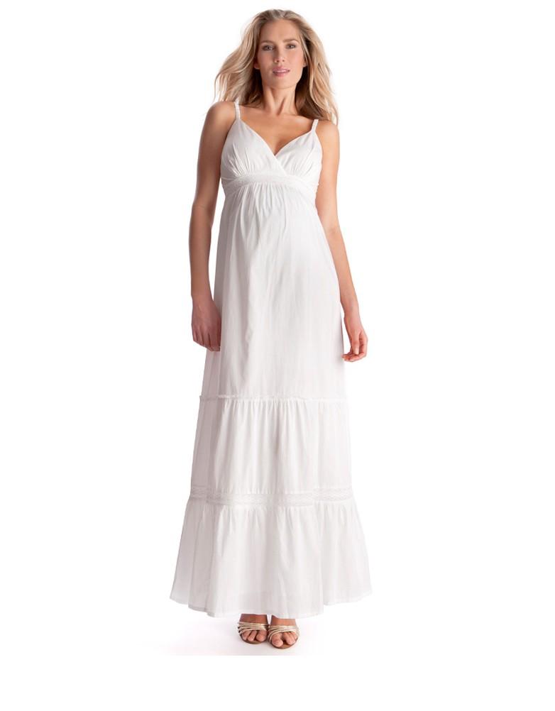 white maxi dress white lace trim maternity maxi dress UGFTJOC