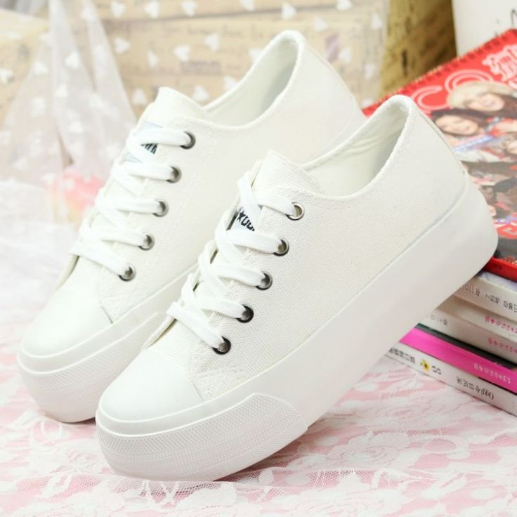 White Shoes For Women Black Casual Platform Canvas Flats Sneakers Spring 2018 Woman