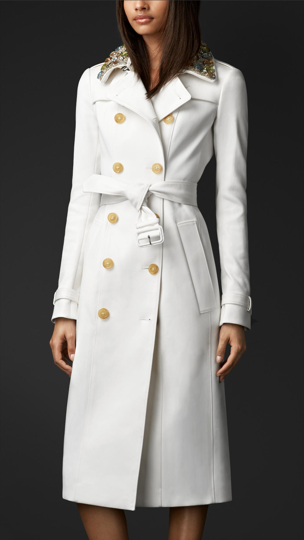 white trench coat burberry | white gem collar trench coat | lyst BSWFFZL