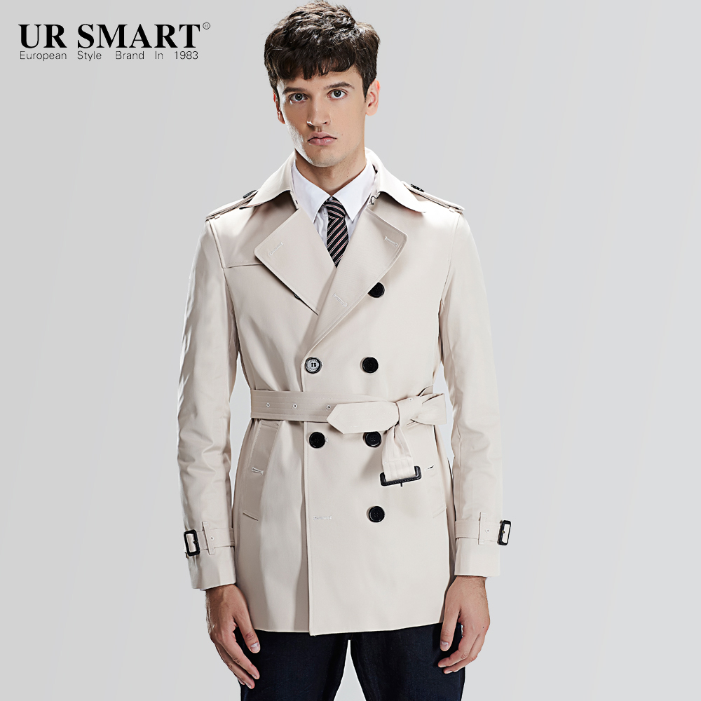 white trench coat ursmart and brief paragraph double-breasted menu0027s windbreaker with waist  rice white male trench CUYDOOS