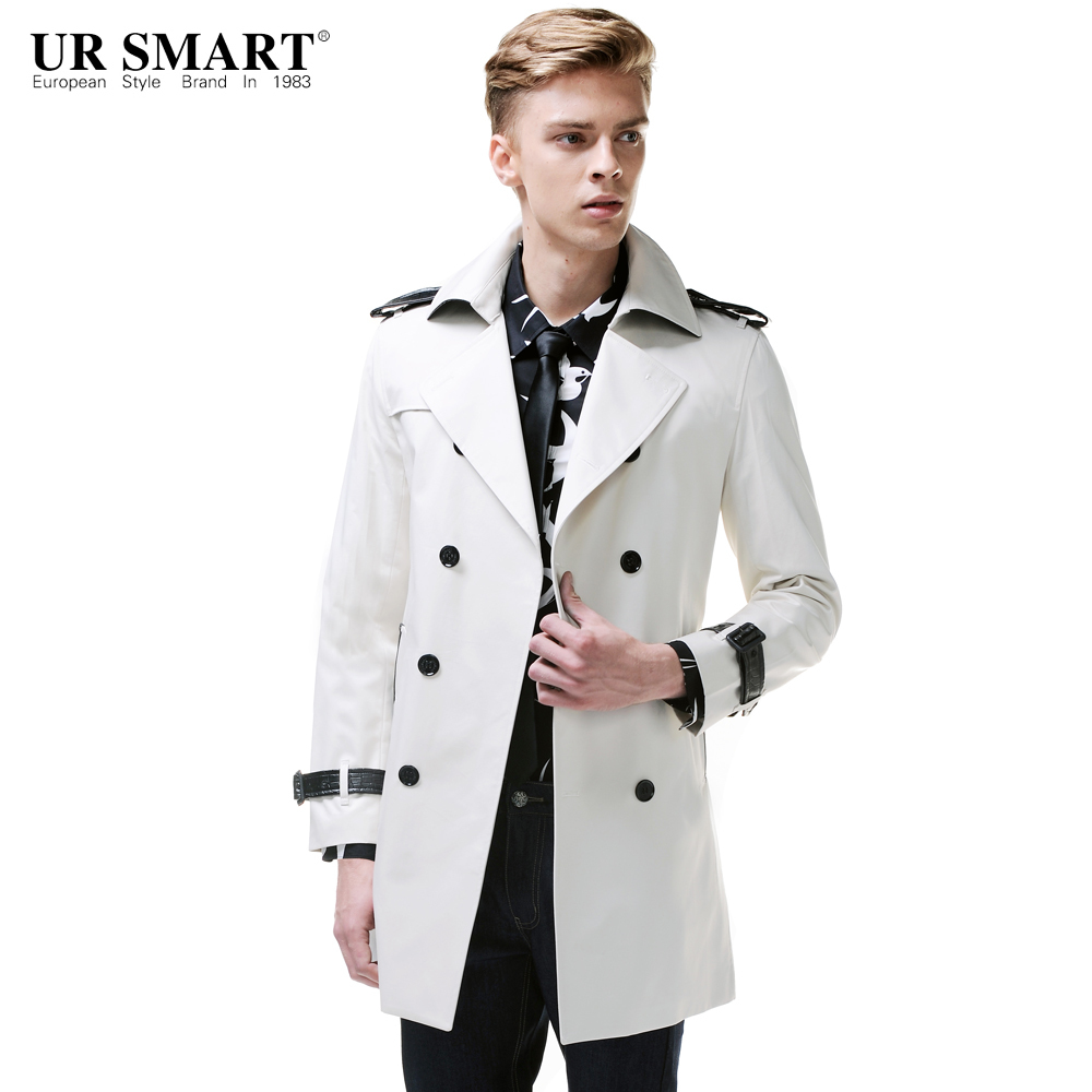 white trench coat ursmart new arrival double-breasted menu0027s windbreaker long cotton in rice  white male trench FBDXDGH