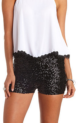 womenu0027s fashion u203a shorts u203a black sequin shorts charlotte russe high waisted sequin PYVSHNA