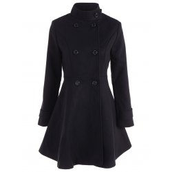 women winter jackets double breasted skirted coat - black 2xl AXVVYGT