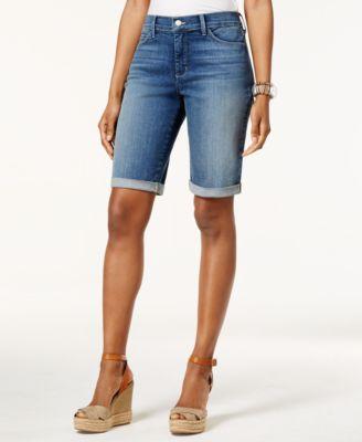 womens bermuda shorts nydj briella tummy-control cuffed denim bermuda shorts UZFFEDD