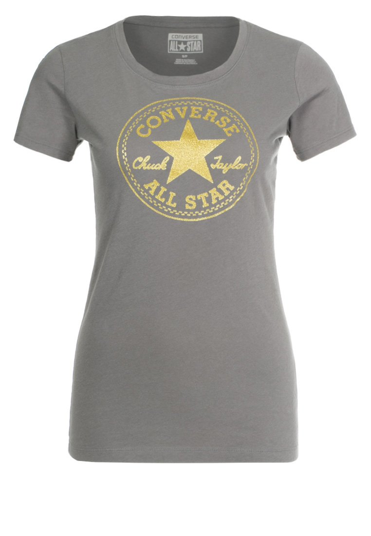 womens converse clothing t-shirt print charcoal grey converse on sale AWGUMLT