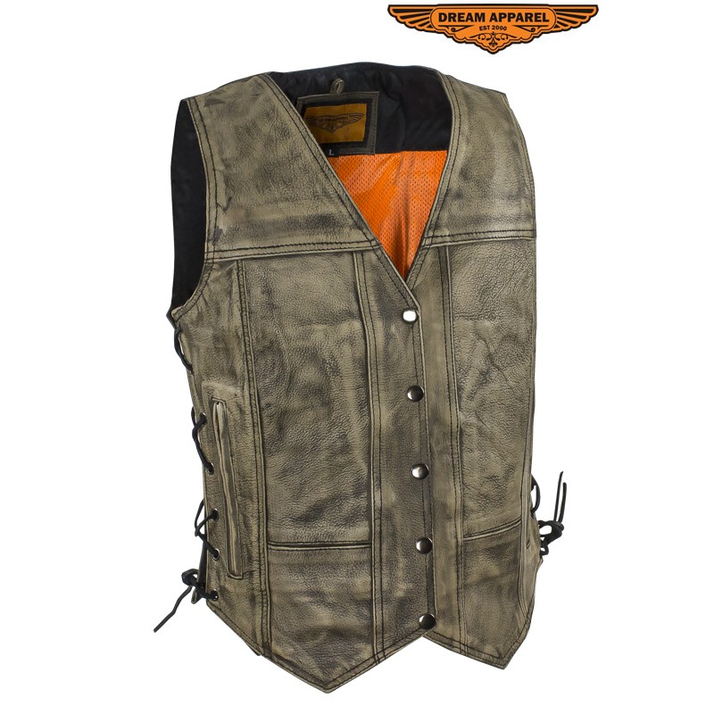 womens distressed brown leather motorcycle vest with side laces ... FCETZSC