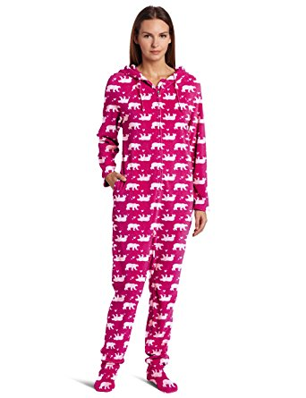 womens footed pajamas casual moments womenu0027s one-piece footed pajama, bears print, small CXNKDAR